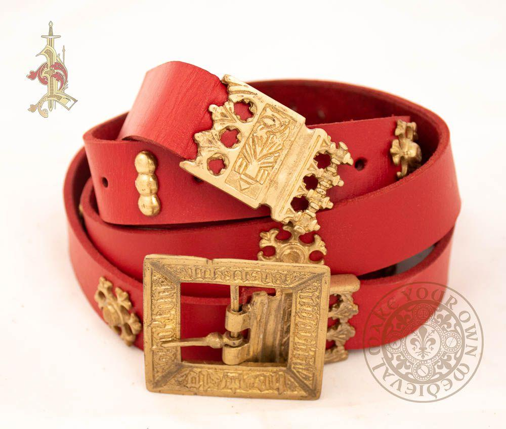 red leather medieval belt with 15th century brass mounts, buckle and strapend