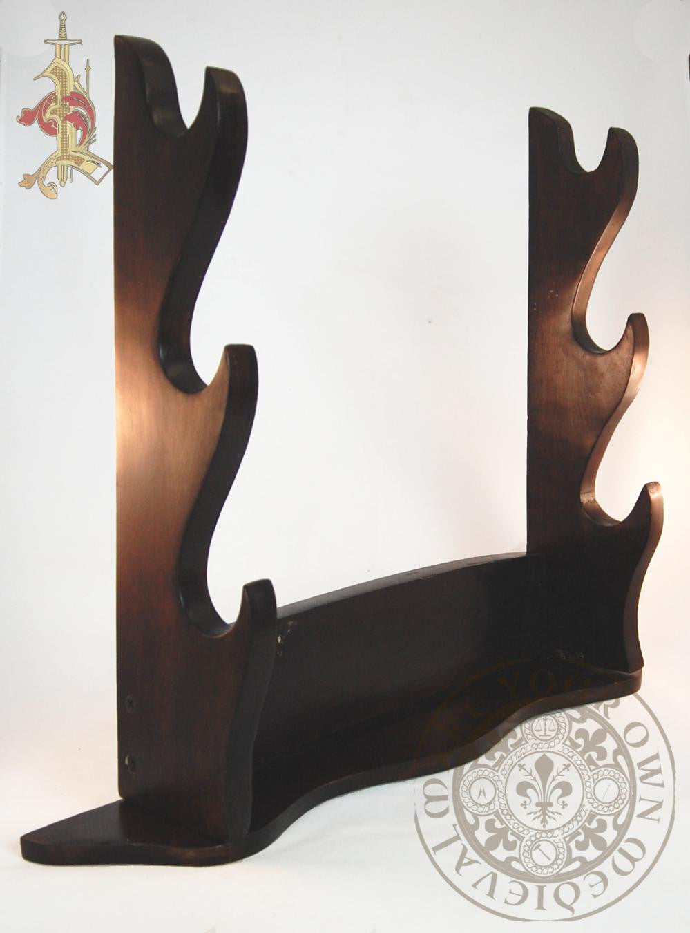 sword display stand three tier wood Medieval and Viking