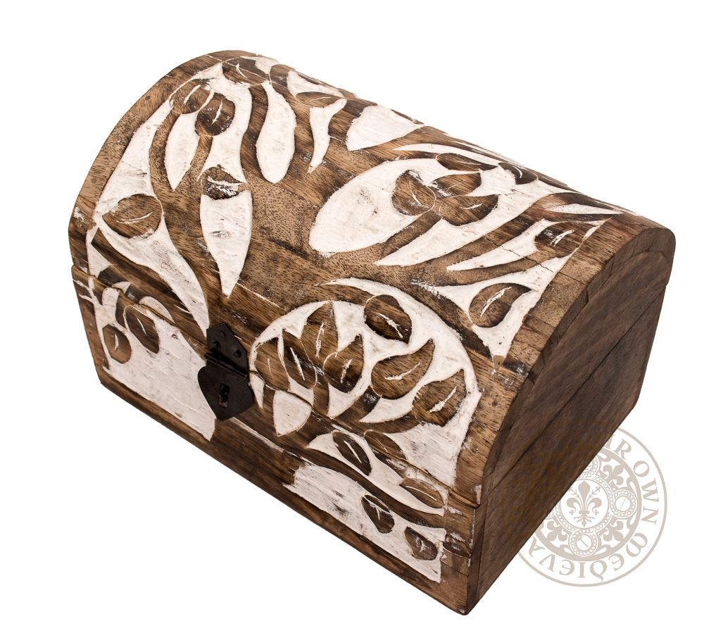 Tree of Life Carved Wooden Chest