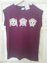 Ladies MONKEY EMOJI EMOTIONS SEE SPEAK HEAR burgundy T-SHIRT  6-20 Primark - Click. Buy. Love. - 4