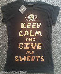 PRIMARK HALLOWEEN T SHIRT KEEP CALM AND GIVE ME SWEETS LADIES UK SIZES 6-20 NEW - Click. Buy. Love. - 4