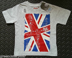 Boys British Flag Union Jack T-Shirt Grey PRIMARK new Mulitple Sizes 1 - 8 years - Click. Buy. Love. - 1
