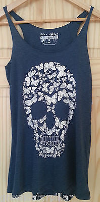 SKULL VEST PRIMARK T SHIRT BLUE WOMENS LADIES BUTTERFLY CANDYSKULL sizes 6 - 20 - Click. Buy. Love. - 1