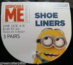 MINIONS PRIMARK DESPICABLE ME WOMEN'S SOCKS 3 PAIRS SIZES 4-8 EU37-42 Shoe Liner - Click. Buy. Love. - 5