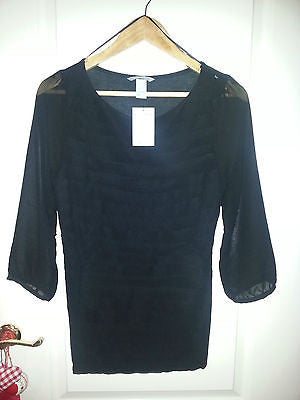 H&M BLACK & NUDE CHIFFON 3/4 SHEER SLEEVE TOP - Click. Buy. Love. - 1
