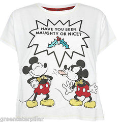 MICKEY MOUSE Naughty/Nice Primark T-SHIRT PJ TOP Ladies Women's Pyjama Size 6-20 - Click. Buy. Love. - 1