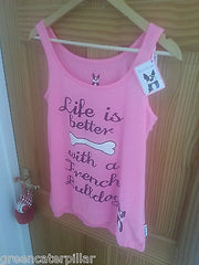 PRIMARK LADIES Life Is Better With A French Bulldog PJ vest T-Shirt  PINK 6 - 20 - Click. Buy. Love. - 2