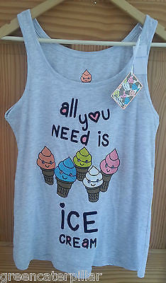 PRIMARK LADIES ALL YOU NEED IS ICECREAM PJ VEST T-SHIRT SIZES 6 - 20 new - Click. Buy. Love.