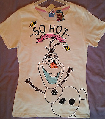 Primark DISNEY FROZEN OLAF SO HOT Ladies Pyjamas T Shirt Top BNWT - Click. Buy. Love. - 1