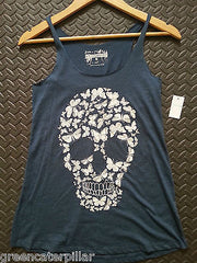 SKULL VEST PRIMARK T SHIRT BLUE WOMENS LADIES BUTTERFLY CANDYSKULL sizes 6 - 20 - Click. Buy. Love. - 3