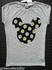 PRIMARK Disney MICKEY MOUSE FLORAL LOGO T-SHIRT TOP UK sizes 6-20 NEW - Click. Buy. Love. - 1
