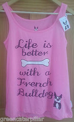 PRIMARK LADIES Life Is Better With A French Bulldog PJ vest T-Shirt  PINK 6 - 20 - Click. Buy. Love. - 1