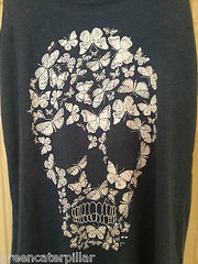 SKULL VEST PRIMARK T SHIRT BLUE WOMENS LADIES BUTTERFLY CANDYSKULL sizes 6 - 20 - Click. Buy. Love. - 4