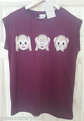 Ladies MONKEY EMOJI EMOTIONS SEE SPEAK HEAR burgundy T-SHIRT  6-20 Primark - Click. Buy. Love. - 1