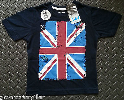 Boys British Flag Union Jack T-Shirt Navy Blue PRIMARK Mulitple Sizes 1-8 years - Click. Buy. Love. - 1