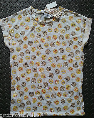 Ladies EMOJI EMOTIONS ICON PRINT T Shirt Primark Smiley Heart Monkey UK 6-20 - Click. Buy. Love. - 1