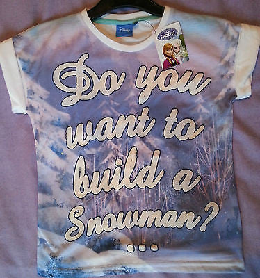 PRIMARK GIRLS DISNEY FROZEN DO YOU WANT TO BUILD A SNOWMAN T SHIRT TOP 7 - 11 YR - Click. Buy. Love.