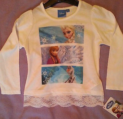 PRIMARK GIRLS DISNEY FROZEN  ELSA ANNA OLAF LACE BOTTOM T SHIRT TOP 1 - 4 years - Click. Buy. Love.