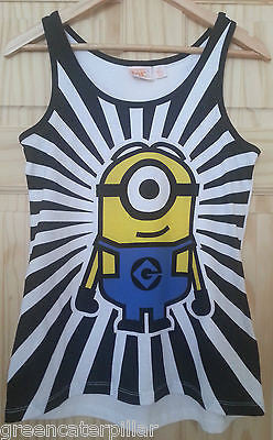 OFFICIAL Minions Black & White Vest PJ T Shirt Primark  Size 6-20 NEW - Click. Buy. Love. - 1