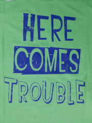 Primark Boys T-Shirt 'Here Comes Trouble' Green Sizes 1-8 years - Click. Buy. Love. - 2