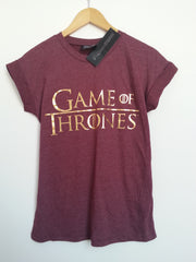 Primark Game Of Thrones T Shirt GoT burgundy Womens Ladies UK 6-20 NEW - Click. Buy. Love. - 2