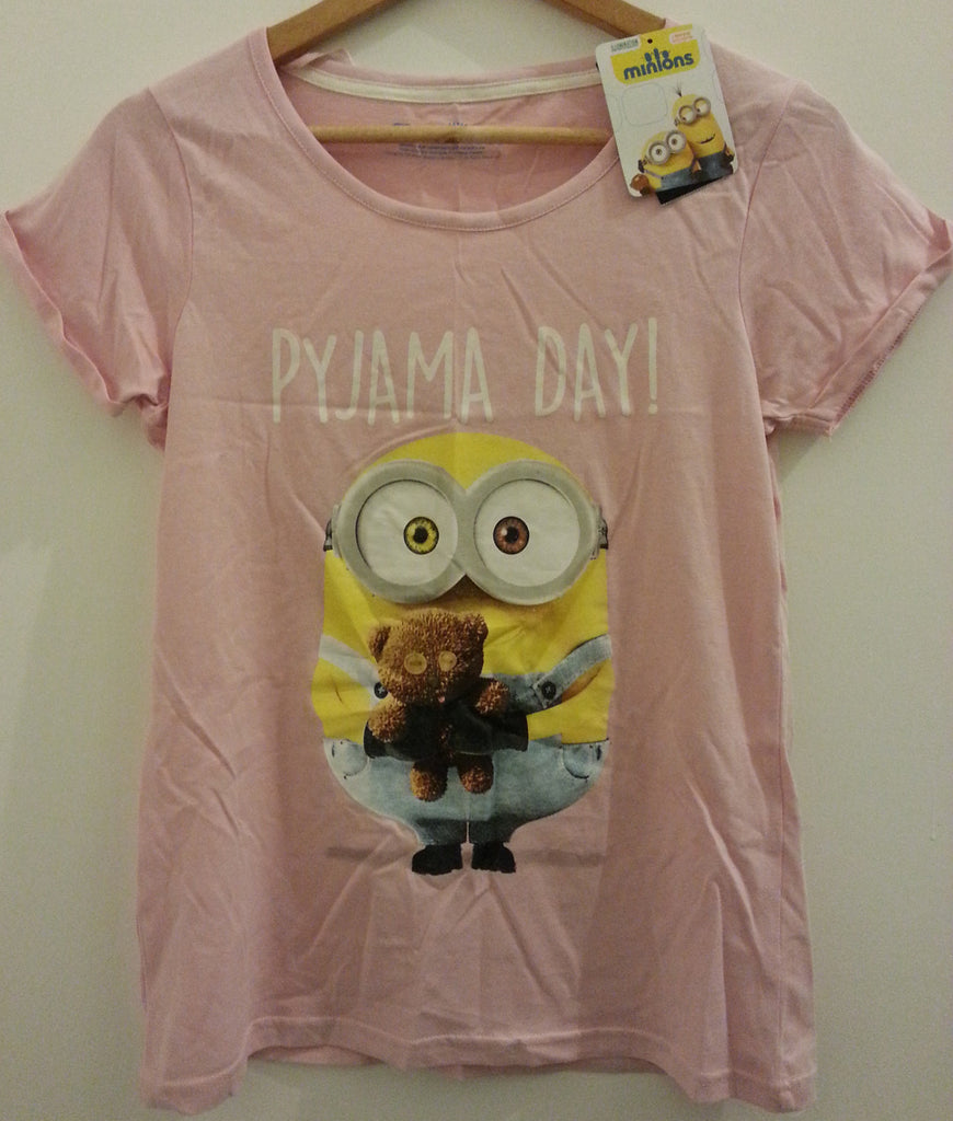 PRIMARK MINIONS T Shirt PJ Pyjama Day Pink Bob Sizes 8 - 22 new - Click. Buy. Love. - 1