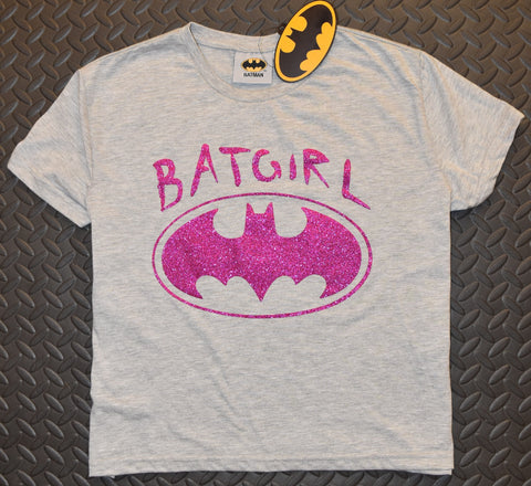 BATGIRL T SHIRT DC Batman PRIMARK Pink Glitter GREY NEW UK Sizes 8 to 16