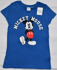 Primark Mickey Mouse T Shirt Classic Disney Womens Ladies BLUE UK Sizes 4 to 14
