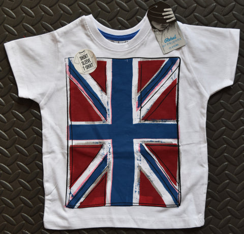 PRIMARK Boys British Flag Union Jack T-Shirt White Cartoon Effect Size 1-8 Years - Click. Buy. Love. - 1