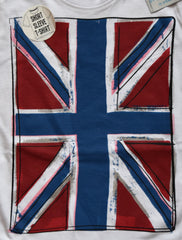 PRIMARK Boys British Flag Union Jack T-Shirt White Cartoon Effect Size 1-8 Years - Click. Buy. Love. - 2