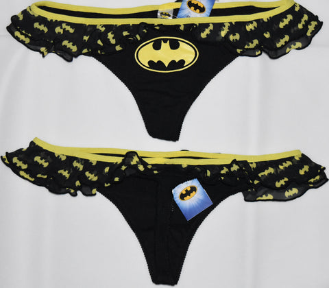BATMAN THONG YELLOW AND BLACK FRILLY WOMEN LADIES SIZES UK 6-20
