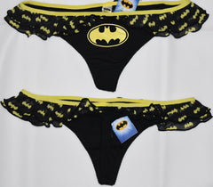 BATMAN THONG YELLOW AND BLACK FRILLY WOMEN LADIES SIZES UK 16