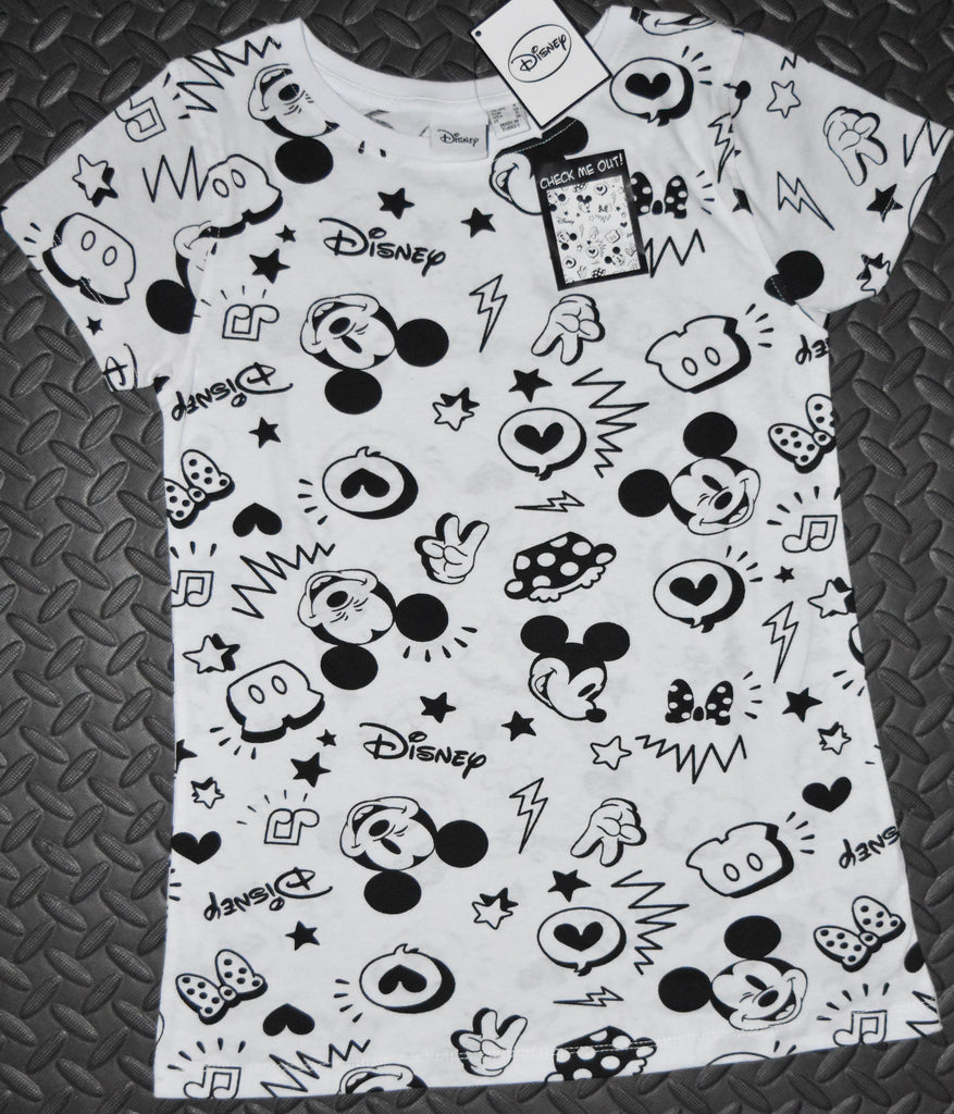 Primark Mickey Mouse T Shirt Disney Womens Ladies White UK Size 6