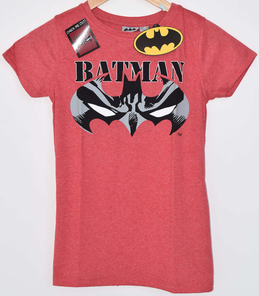 BATMAN T SHIRT PRIMARK DC RED LADIES WOMENS OFFICIAL NEW UK Sizes 6-20