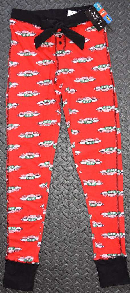FRIENDS CENTRAL PERK RED PJ BOTTOMS Primark Ladies Womens Leggings Sizes 6 to 20