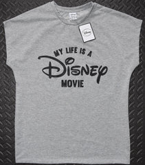 Primark Disney T Shirt MY LIFE IS A DISNEY MOVIE Ladies Sizes 6-20 NEW