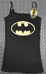 BATMAN Primark Vest T Shirt BLACK YELLOW CLASSIC Womens Ladies UK Sizes 4-20