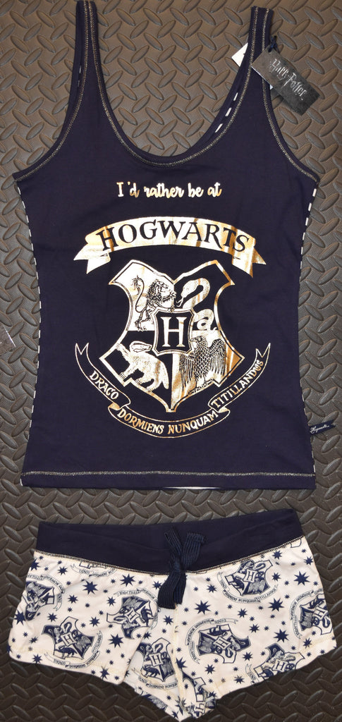 primark hogwarts pj vest shorts harry potter pyjamas navy blue sizes click buy love. Black Bedroom Furniture Sets. Home Design Ideas