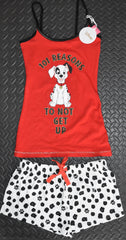101 DALAMATIONS PRIMARK VEST AND SHORT PJ SET DISNEY Womens UK Sizes 4 to 16