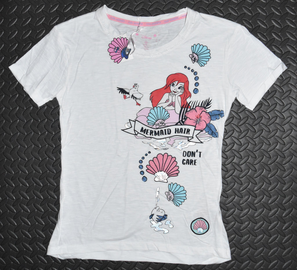 LITTLE MERMAID PRIMARK PJ T SHIRT DISNEY MERMAID HAIR Sizes 4 - 20 NEW