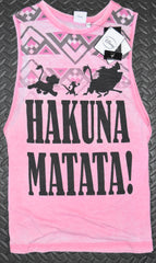 HAKUNA MATATA T SHIRT VEST LION KING DISNEY WOMENS LADIES UK SIZES PINK 6 - 12 new