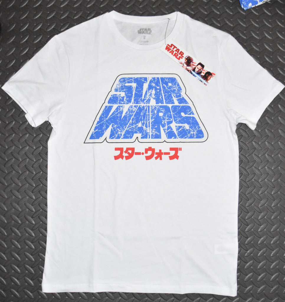 STAR WARS Primark MENS T SHIRT WHITE BLUE LOGO NEW UK Sizes M - XXL