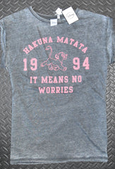 HAKUNA MATATA T SHIRT FADE EFFECT LION KING DISNEY WOMENS LADIES UK SIZES  6 - 8 new