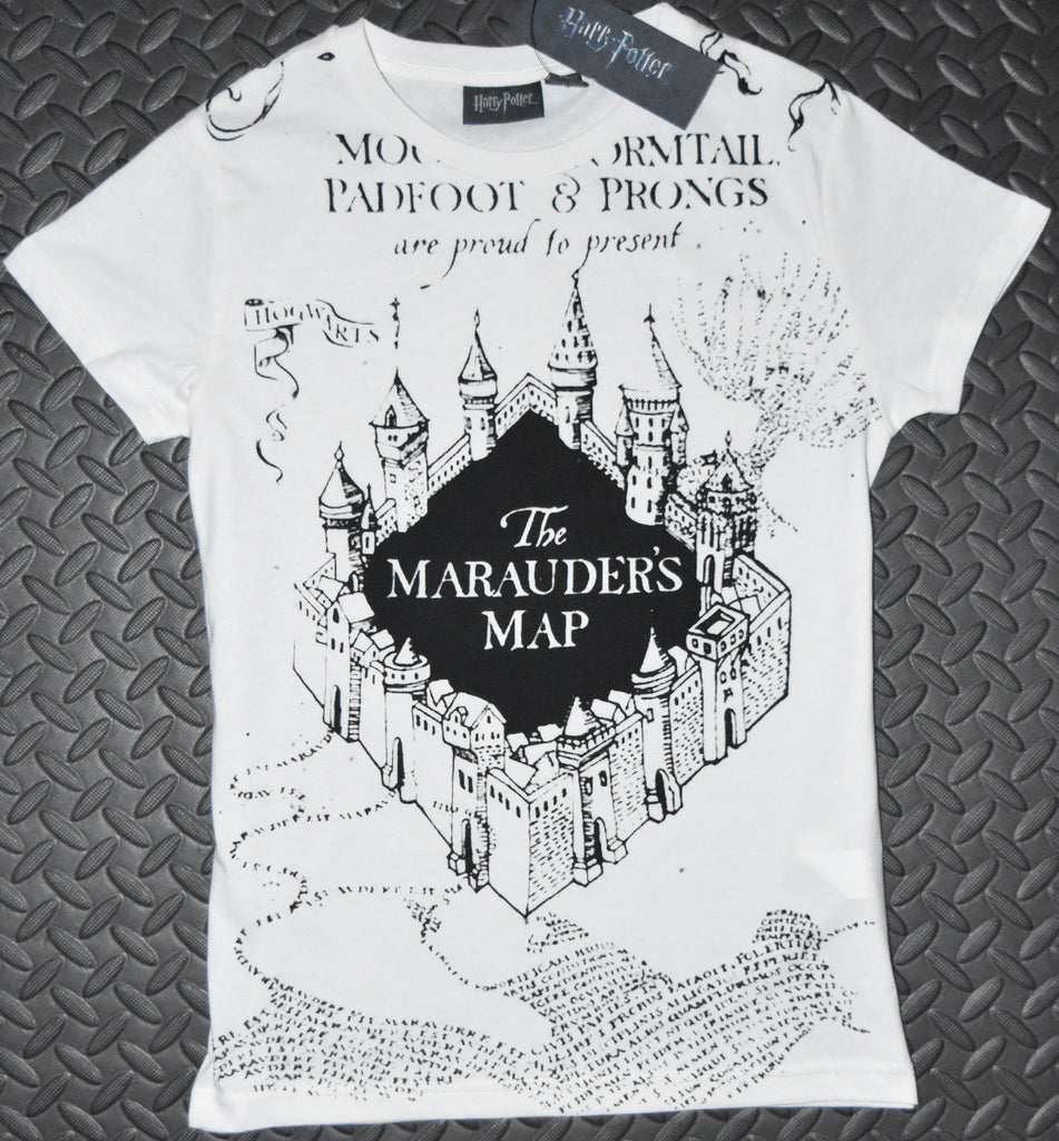 Primark MARAUDERS MAP T Shirt HARRY POTTER Womens Ladies UK Sizes 4-20 NEW