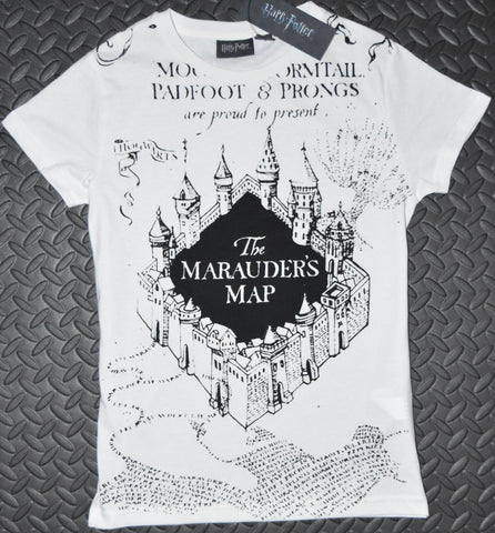 Primark MARAUDERS MAP T Shirt HARRY POTTER Womens Ladies UK Sizes 4 to 18
