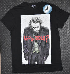 JOKER T SHIRT BATMAN MENS WHY SO SERIOUS LOGO PRIMARK UK Sizes M to L
