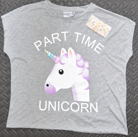 PRIMARK UNICORN T SHIRT PART TIME SIZES 6 - 20 EMOJI EMOJICON