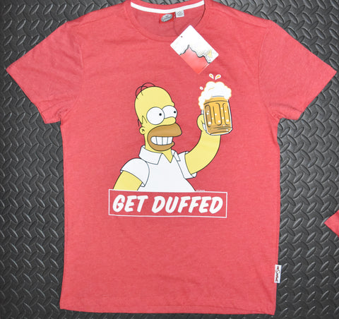 SIMPSONS T SHIRT MENS HOMER GET DUFFED LOGO RED PRIMARK UK Sizes M - XXXL