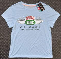 FRIENDS PRIMARK T Shirt CENTRAL PERK BLUE Womens Ladies UK sizes 4 - 20