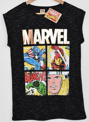 PRIMARK T SHIRT MARVEL GOLD LADIES DC COMICS STRIP UK SIZE 6